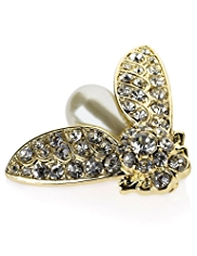 M&S Collection Gold Plated Diamanté & Pearl Effect Bug Brooch