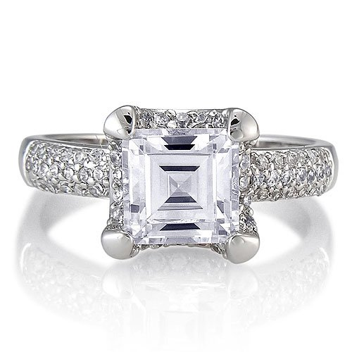 Sterling Silver Asscher Cubic Zirconia CZ Solitaire Ring - Women's Engagement Wedding Ring Size 9