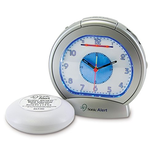 Sonic Boom EXTRA LOUD Analog Alarm Clock with Super Shake Bed Vibrating Unit, Blue Backlight Display and Adjustable Controls
