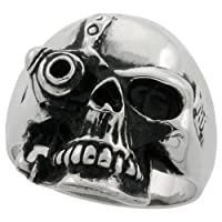 Stainless Steel 15/16 in. (24 mm) Futuristic Soldier Skull Ring (Available in Sizes 9 to 15)