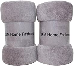 J amp M Home Fashions Solid Plush Fleece Throw 50 by 60-Inch Zinc 2-Pack