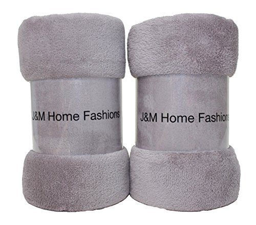 J & M Home Fashions Solid Plush Fleece Throw, 50 By 60-Inch, Zinc, 2-Pack front-90302