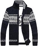 【Smile LaLa】 メンズ 厚い ジップ カーディガン カウチン セーター カジュアル ファッション 男性 用 春服 秋服 冬服 (XL, ネイビー) …
