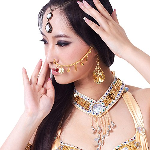 AveryDance Belly Dance Costume Accessories Metal Coins Indian Dance Nose Chain