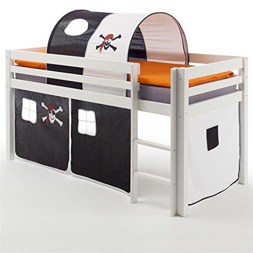 HochbettSpielbett Bett Kinderbett MAX massives Kiefernholz weiß lackiert Vorhang und Tunnel mit Piratenmotiv 90 x 200 cm (B x L) kaufen
