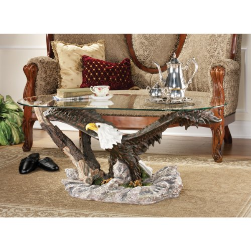 19″ American Bald Eagle Sculpture Statue Coffee Table (KY580)