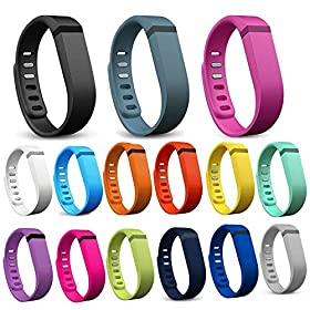 Henoda 15 Pcs Large Replacement Bands with Clasps for Fitbit Flex Only /No Tracker (Pack of 15 (Large))