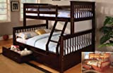 Twin and Full Bunk Bed with Roller Drawers in Espresso Finish #AD 8138-bk,8 ....