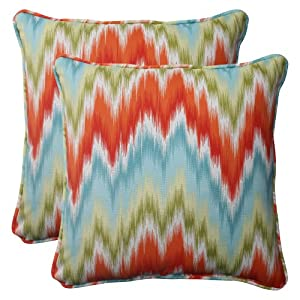 Pillow Perfect Indoor/Outdoor Flame Stitch Corded Throw Pillow, 18.5-Inch, Opal, Set of 2 by Pillow Perfect