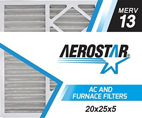 20x25x5 Honeywell Replacement Furnace Air Filters by Aerostar - Merv 13, Box of 2