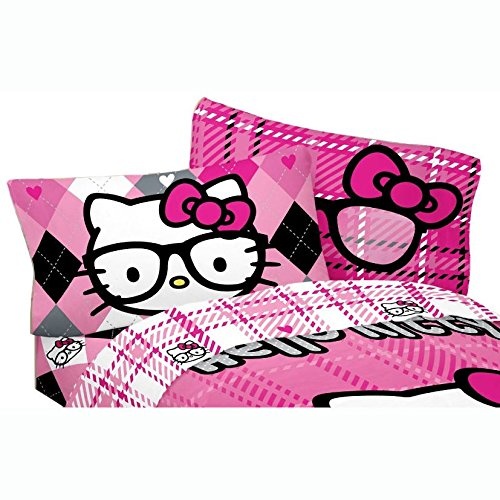 Sanrio-Hello-Kitty-Bed-Sheet-Set-I-Heart-Nerds-Pink-Plaid-Bedding