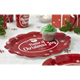 Christmas Paper Platters X 5 - Paper Disposable Party Tableware, Plates - Christmas Cheer