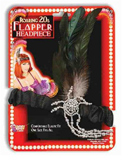 Black Charleston Classic 20s Flapper Girl Head Feather
