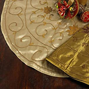 #!Cheap Hand Beaded Gold Elegant Christmas Tree Skirt - 42 Inch - Round - New