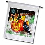Dream Essence Designs-Holidays Halloween - Halloween Raven with Jack-o-Lantern, Mist and Candles Digital Art - 18 x 27 inch Garden Flag (fl_242310_2)