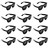 Plastic Black Vintage Retro Wayfarer Style Sunglasses Shades Eyewear for Party Prop Favors, Decorations, Toy Gifts (12 Pairs) by Super Z Outlet®