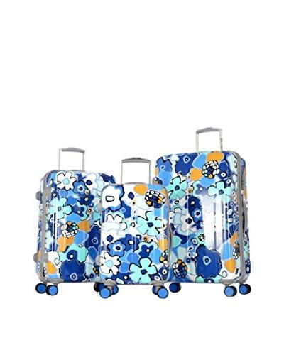 Olympia USA Blossom II 3-Piece Hardside Luggage Set, Aqua Blue