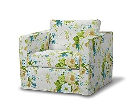 FRANC-TEXTIL 620-141-15 Karstad sillón funda de largo, funda sillón, Karlstad sillón, Mirella, azul/beige