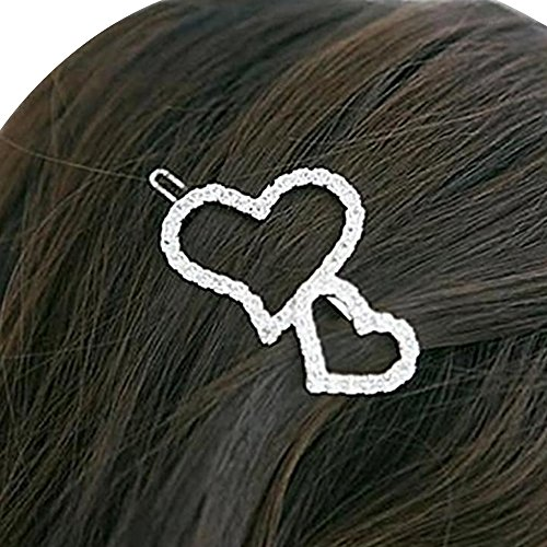 Happy Hours - 1 Pc Full Clear Crystal Double Heart Decor Hair Clips / Women Girls Sliver Dazzling Barrette Headpiece (3g Slide Mat compare prices)