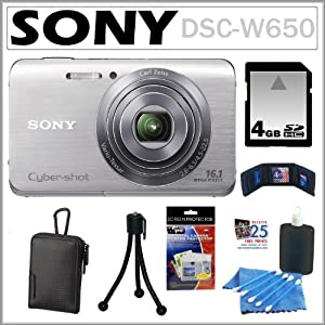 Sony Cyber-shot DSC-W650 16.1 MP Digital Camera with 5x Optical Zoom and 3.0-Inch LCD in Silver + 4GB SDHC + Sony Case + Accessory Kit
