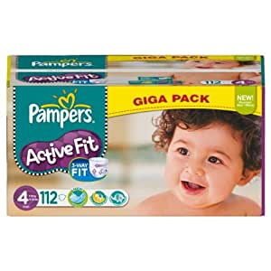 Pampers - 81370964 - Active Fit Couches - Taille 4 Maxi - 7-18 kg - Gigapack x 112 Couches