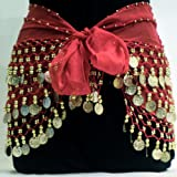 Red Belly Dance Skirt With Gold Coins (Great Gift Idea)