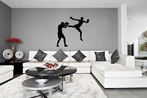 Kick-Boxing-Boxer-Sticker-mural-vinyle-Silhouette