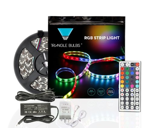 Triangle Bulbs® 16.4Ft 5M Waterproof Flexible Strip 300Leds Color Changing Rgb Smd5050 Led Light Camplete Kit With 44-Key Remote, And 12V 5A Power Supply