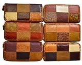 牛革パッチワークハンドメイドウォレット世界に一つだけ木や葉の表面をイメージした財布