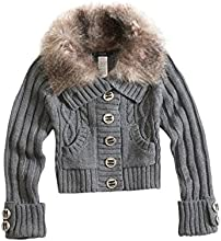 GUESS Kids Big Girl Cable-Knit Sweater with Faux-Fur Collar 7-16
