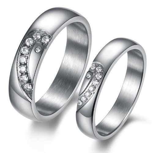 JewelryWe New His 6MM or Hers 4MM Titanium Stainless Steel Matching Heart Cz Couple Lover Rings Anniversary Promise Engagement Wedding Band
