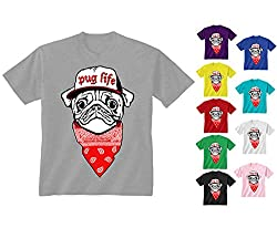 Youth Kids Childrens Pug Life Dog Puppy Bandana Hip Hop Funny T-shirt