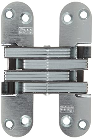"""SOSS Mortise Mount Invisible Hinge with 8 Holes, Zinc, Satin Chrome Finish, 4-5/8"""" Leaf Height, 1-1/8"""" Leaf Width, 1-41/64"""" Leaf Thickness, #10 x 1-1/2"""" Screw Size"""