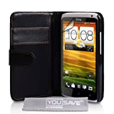 Yousave Accessories PU Leather Wallet Cover Case for HTC One X - Black