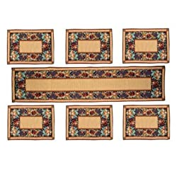Loomkart Table Mats (Set Of Seven) With Table Runner On Jacquard Fabric- In Zip pouch for Gifting and Safe Storage