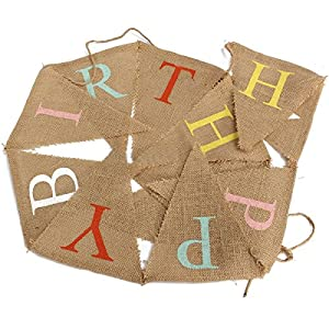 AllHeartDesires 1 Set Rustic HAPPY BIRTHDAY Jute Hessian Burlap Bunting Shabby Chic Party Banner by AllHeartDesires