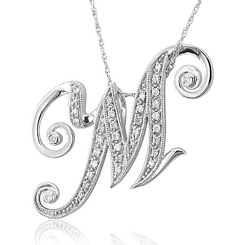 "Alphabet ""M"" Diamond Initial Pendant in 14k White Gold"