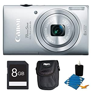 Canon PowerShot ELPH 130 IS 16.0 MP Digital Camera with 8x Optical Zoom 28mm Wide-Angle Lens and 720p HD Video Recording (Silver) Deluxe Bundle- Includes camera, 8GB Secure Digital SD Memory Card, Ultra-Compact Digital Camera Deluxe Carrying Case, 3pc. Le