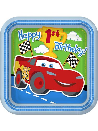 Cars 1st Birthday Large Paper Plates (8ct)