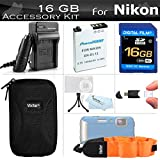 16GB Accessories Kit For Nikon COOLPIX AW120, AW110, AW100, AW130 Waterproof Digital Camera Includes 16GB High Speed SD Memory Card + Replacement EN-EL12 Battery + AC/DC Charger + Case + FLOAT STRAP +