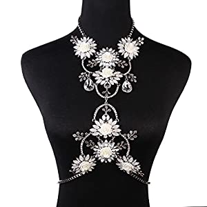Holylove® Summer Beach Pure White Crystal Flower Body Necklace-with Color Box
