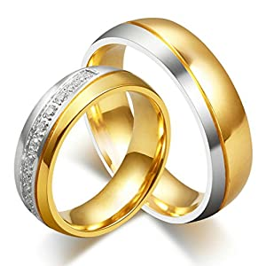 Hers & Women's Ring For Love Titanium 18K Gold-Plated Wedding Engagement Band 6mm US Size 8 from AnaZoz