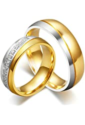 AnazoZ Jewelry His and Her For Titanium 18K Gold-Plated Wedding Engagement Band Couple Ring Top Ring 6mm