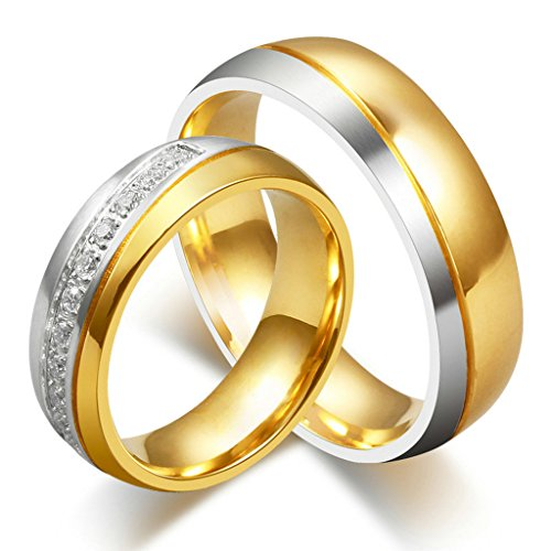 Hers & Women's Ring For Love Titanium 18K Gold-Plated Wedding Engagement Band 6mm US Size 7.5