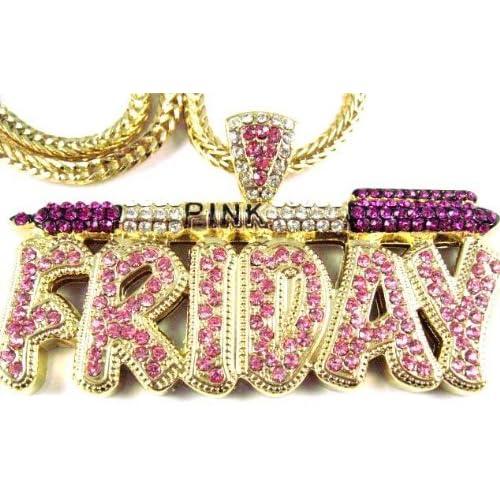 NICKI MINAJ BARBIE Pink Friday Pendant Chain Gold Purple/pink