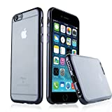 Reshow® Crystal Clear Ultra Slim TPU Plating Edge iPhone 6/6S Plus Cover Case 5.5 inch Advanced Silicone with Plating Scratch Resistant Anti-Slip for iPhone 6 6S Plus Black and Transparent