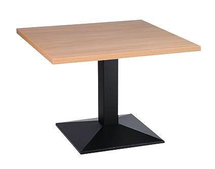 Quinn tavolo da caffè con base in ghisa 70cm quadrato in rovere