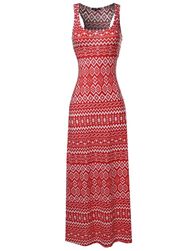 All over print Tank Maxi Dress Coral Size M