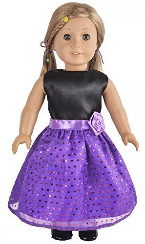 Ebuddy Black Purple Shinning with Big Flower on Waistline Deco Dress Clothes Fits 18 Inch Doll