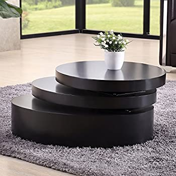 Uenjoy Rotating Coffee Table Living Room Furniture (Round, Black)